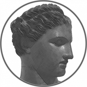 A drawing of the head of a Greek statue representing Philtata Press