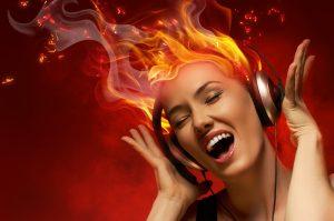 Stock photo of woman wearing headphones